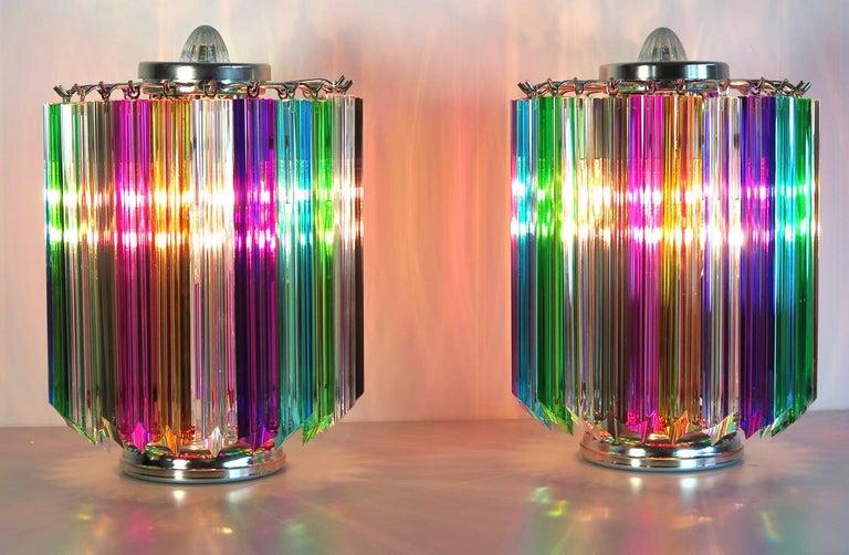 20th Century Pair Multi-color Quadriedri Table Lamp, Murano, 1990s For Sale