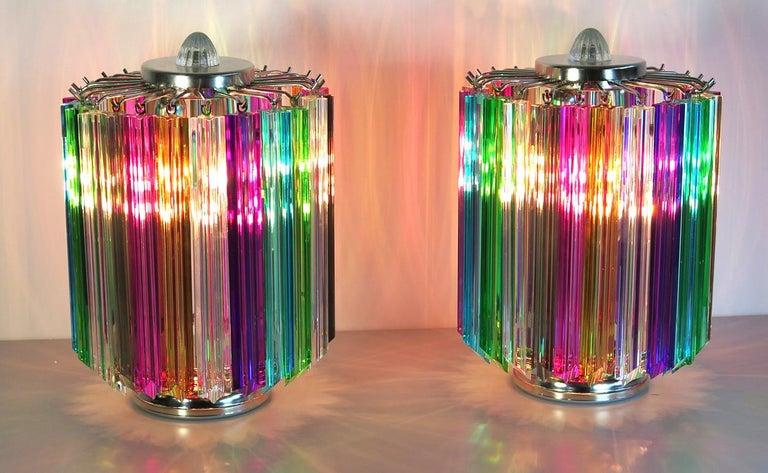 Metal Pair Multi-color Quadriedri Table Lamp, Murano, 1990s For Sale