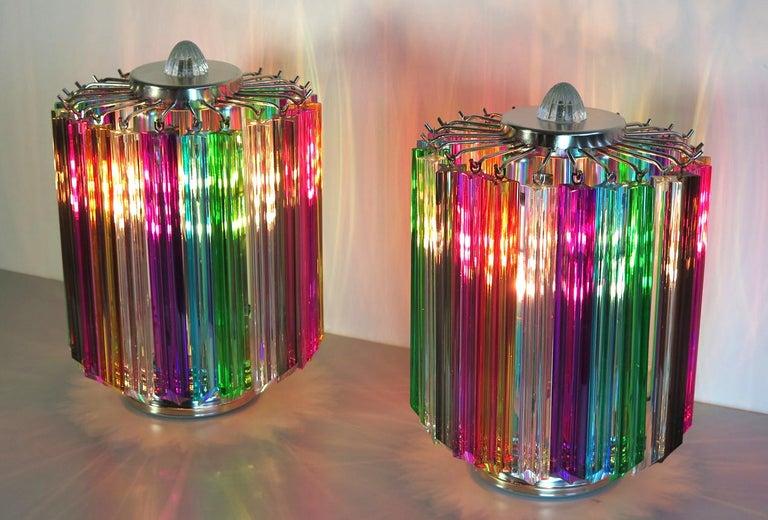 Pair Multi-color Quadriedri Table Lamp, Murano, 1990s For Sale 1