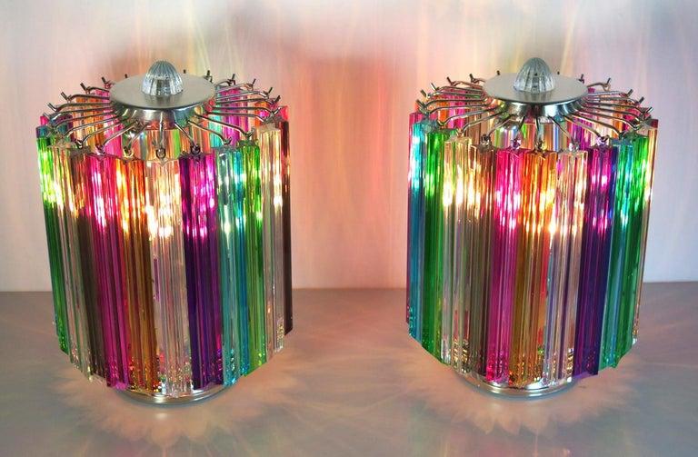Pair Multi-color Quadriedri Table Lamp, Murano, 1990s For Sale 2