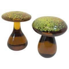 Pair of Murano Amber Italian Art Glass Mushroom Paperweight Sculpture