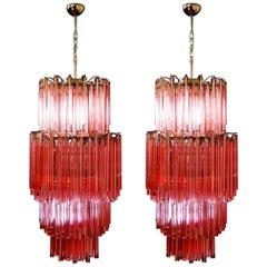 Pair of Murano Chandeliers Made by 242 Murano Crystal Pink Prism 'Triedri'