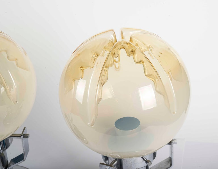 Pair of Murano glass and chrome base table lamps.