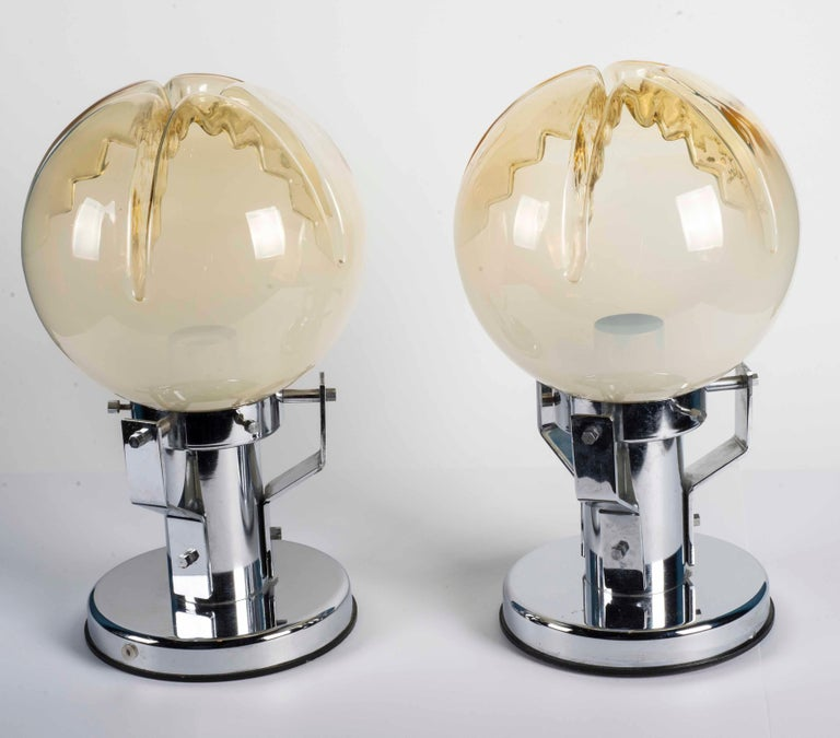Pair of Murano Glass and Chrome Base Table Lamps For Sale 2