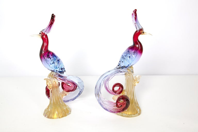 Pair of Murano Glass Large 'Birds of Paradise' For Sale 5
