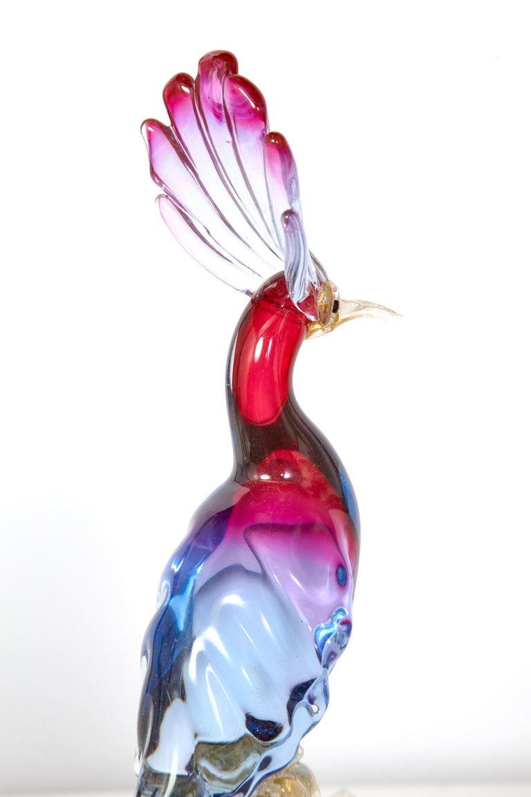 Pair of Murano Glass Large 'Birds of Paradise' For Sale 11