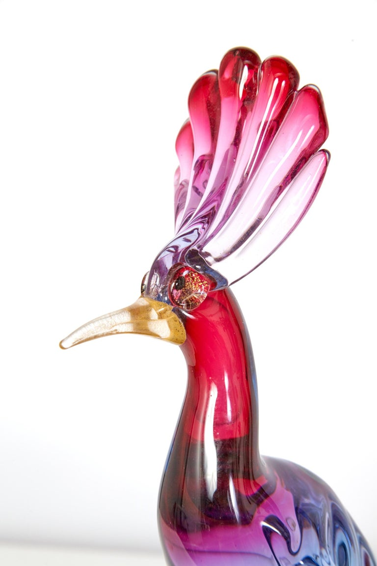 Pair of Murano Glass Large 'Birds of Paradise' For Sale 1