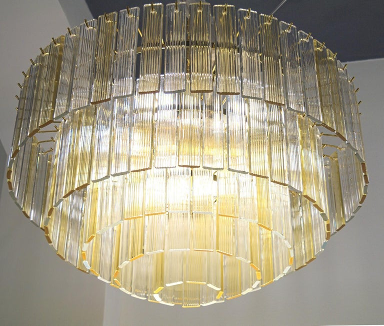 Murano Midcentury 5-Tier Amber Clear Fettucce Chandelier Venini Santillana, Pair For Sale 6