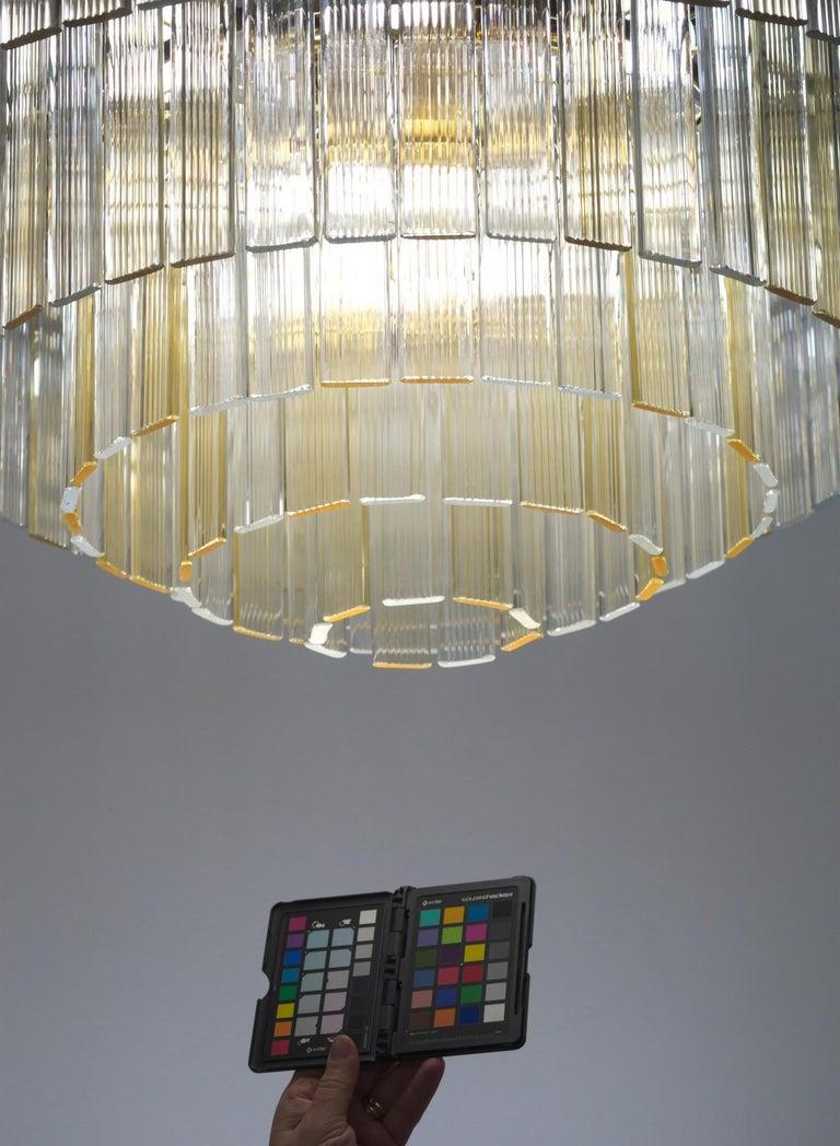 Murano Midcentury 5-Tier Amber Clear Fettucce Chandelier Venini Santillana, Pair For Sale 9