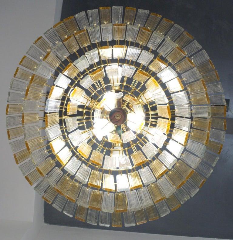 Mid-Century Modern Murano Midcentury 5-Tier Amber Clear Fettucce Chandelier Venini Santillana, Pair For Sale