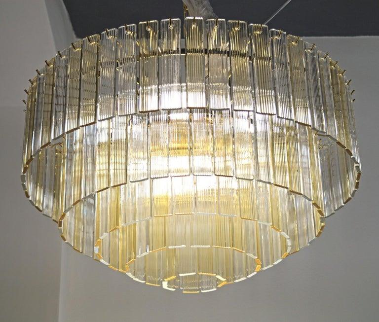 Italian Murano Midcentury 5-Tier Amber Clear Fettucce Chandelier Venini Santillana, Pair For Sale