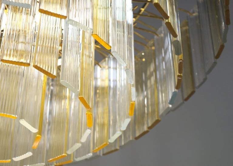 Murano Midcentury 5-Tier Amber Clear Fettucce Chandelier Venini Santillana, Pair In Excellent Condition For Sale In Tavarnelle val di Pesa, Florence