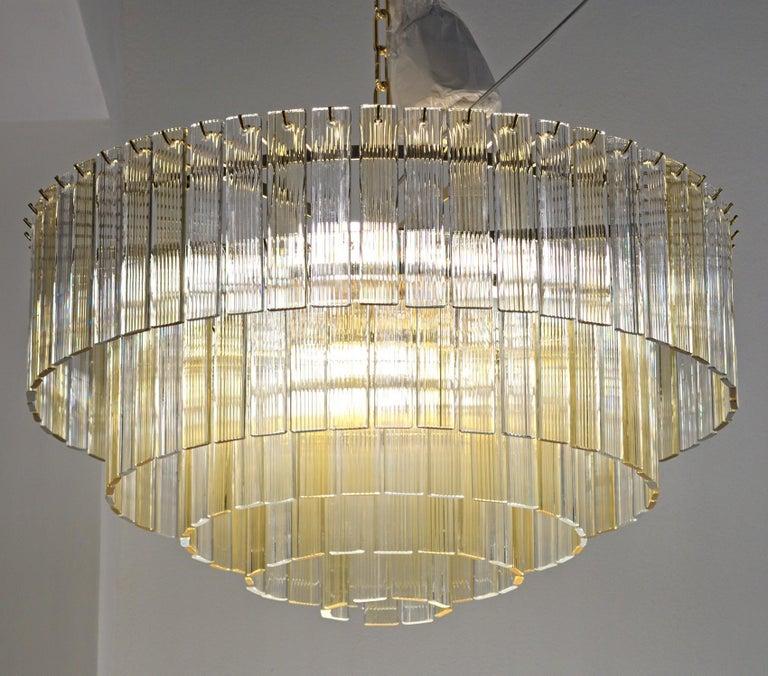 20th Century Murano Midcentury 5-Tier Amber Clear Fettucce Chandelier Venini Santillana, Pair For Sale