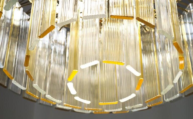 Metal Murano Midcentury 5-Tier Amber Clear Fettucce Chandelier Venini Santillana, Pair For Sale