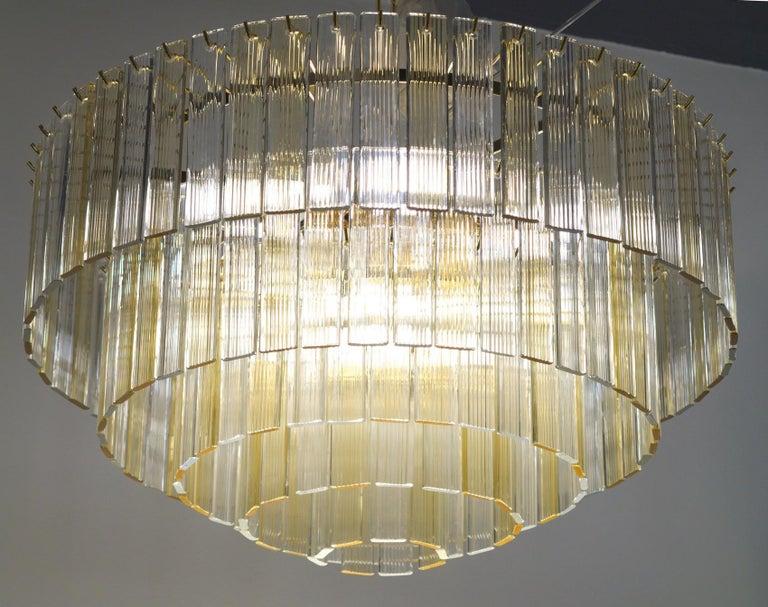 Murano Midcentury 5-Tier Amber Clear Fettucce Chandelier Venini Santillana, Pair For Sale 1