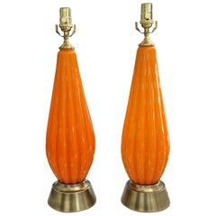 Pair Murano Orange and Controlled Bubbles Glass Table Lamp