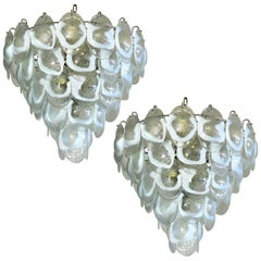 Pair of Murano Shell Chandeliers by Mazzega