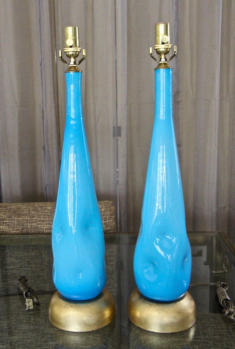Italian Pair Murano Blue Glass Table Lamps For Sale