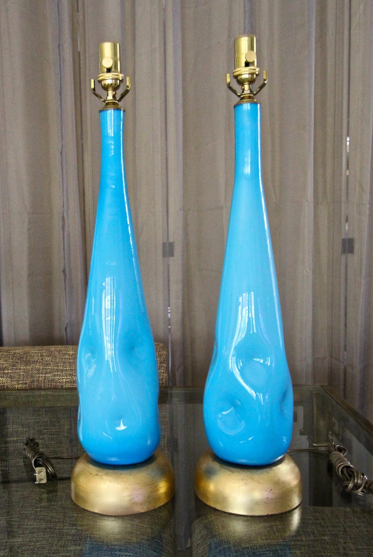 Pair Murano Blue Glass Table Lamps In Good Condition For Sale In Palm Springs, CA