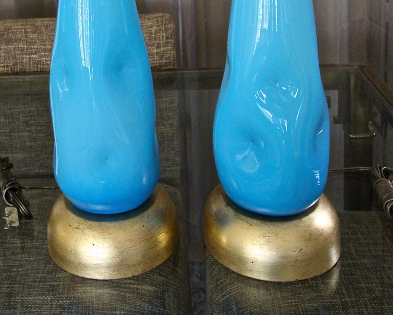 Pair Murano Blue Glass Table Lamps For Sale 2