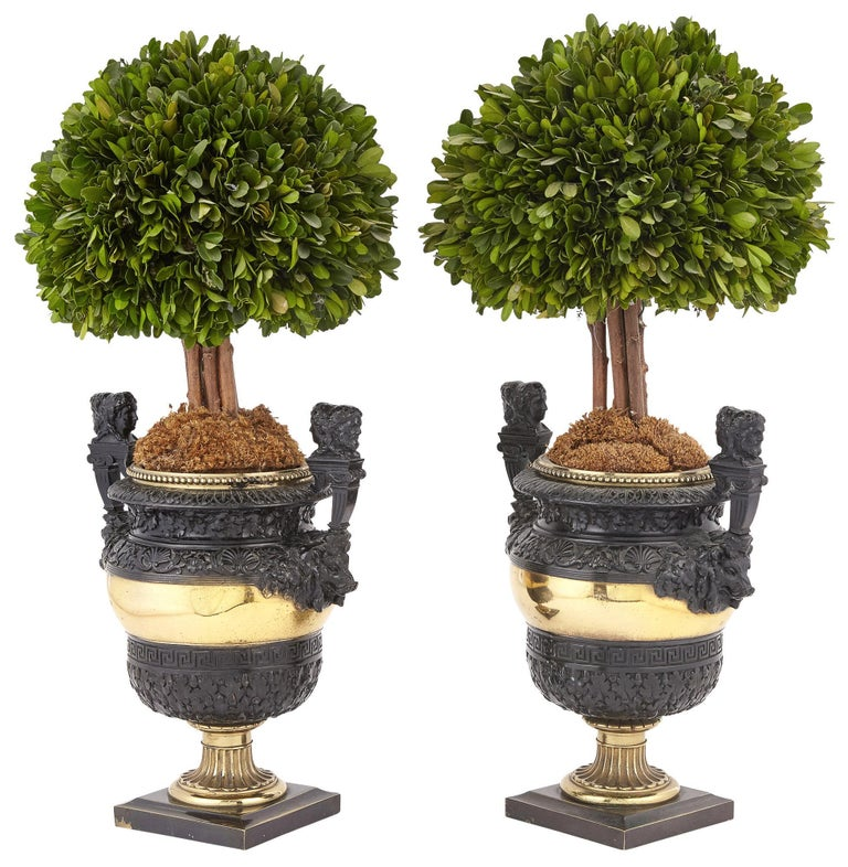 French Pair of Napoleon II Gilt and Patinated Bronze Janus Urns For Sale