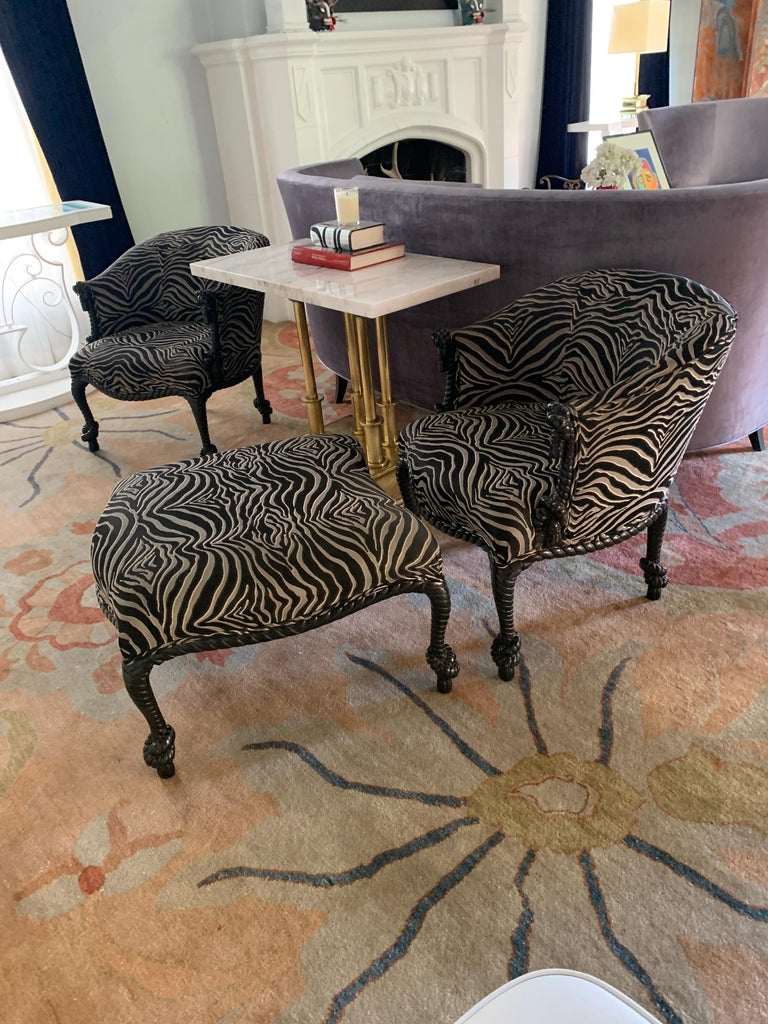 Hand-Carved Pair Weiman Napoleon III Twisted Rope Armchairs with matching Ottoman in Zebra For Sale