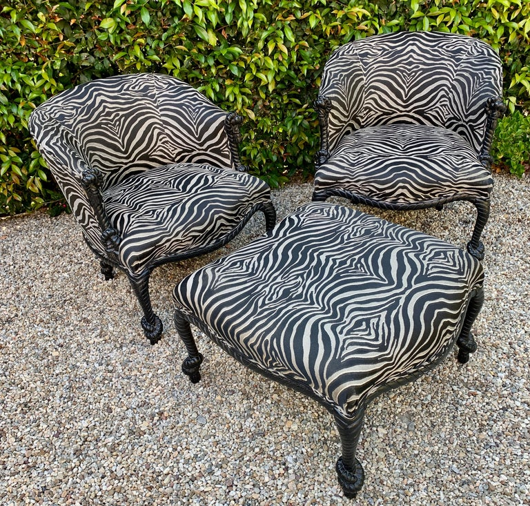 Pair Weiman Napoleon III Twisted Rope Armchairs with matching Ottoman in Zebra For Sale 3