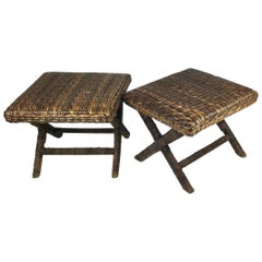 Pair of Natural Woven X Base Benches with Wrapped Rattan Legs