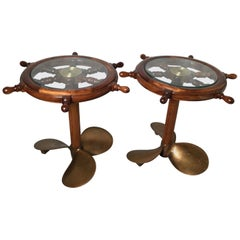 Pair of Nautical Drink Tables with Authentic Propeller Bases
