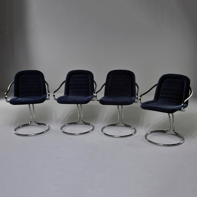 Pair of Navy Chenille Scoop Armchairs with Chrome Frames For Sale 3