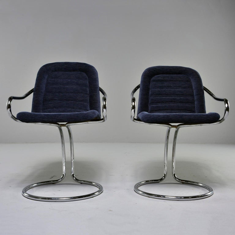 Mid-Century Modern Pair of Navy Chenille Scoop Armchairs with Chrome Frames For Sale