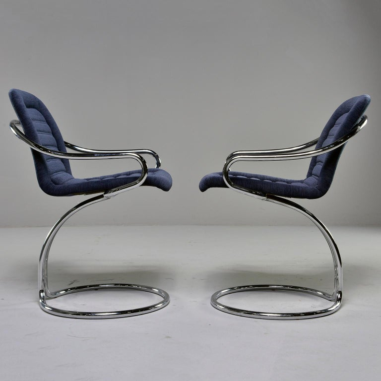 European Pair of Navy Chenille Scoop Armchairs with Chrome Frames For Sale