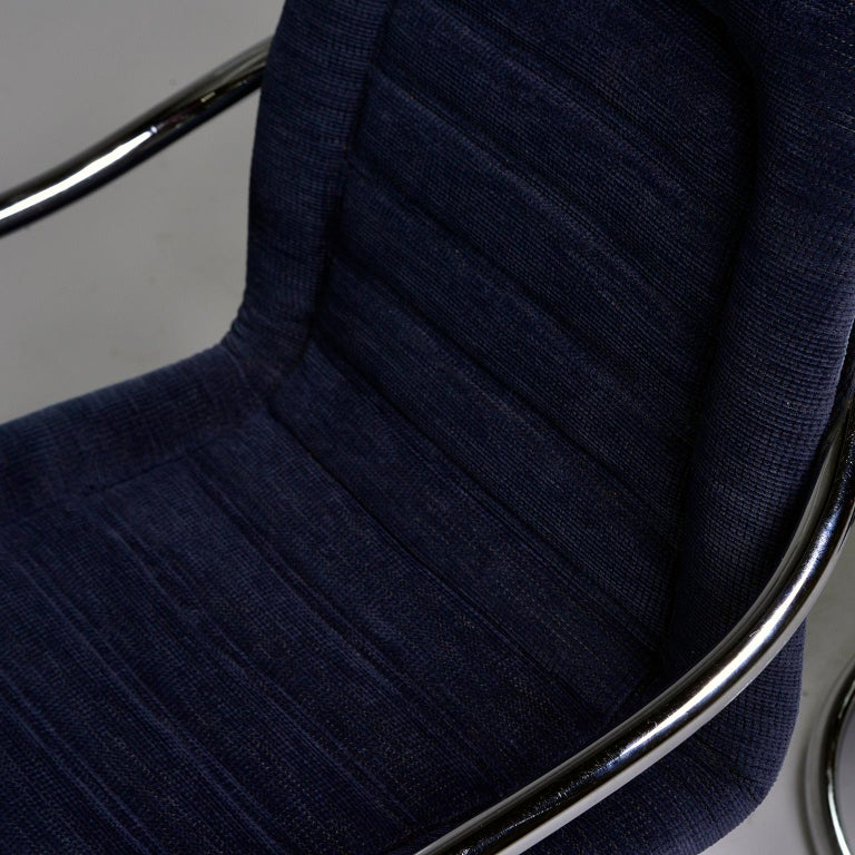 Pair of Navy Chenille Scoop Armchairs with Chrome Frames For Sale 2