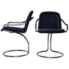 Pair of Navy Chenille Scoop Armchairs with Chrome Frames