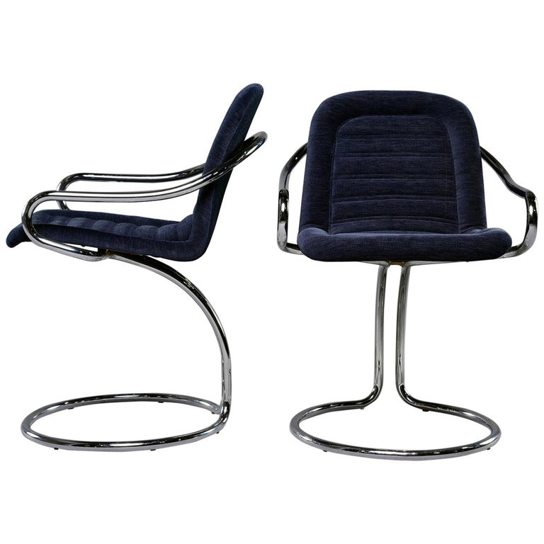 Pair of Navy Chenille Scoop Armchairs with Chrome Frames For Sale