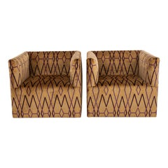 Pair Neisha Crosland Kyoto Trellis Swivel Club Chairs