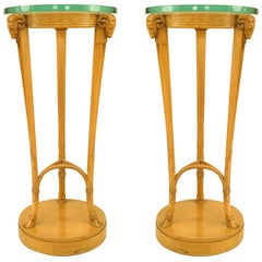 Pair Neoclassic Sycamore Pedestals by T. H. Robsjohn Gibbings