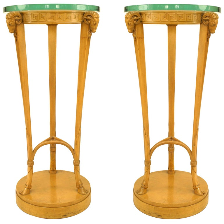 Pair Neoclassic Sycamore Pedestals by T. H. Robsjohn Gibbings For Sale
