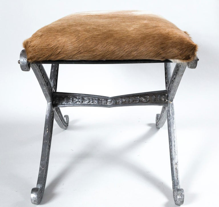 Pair of Neoclassical X-Frame Upholstered Benches, 20th Century For Sale 6
