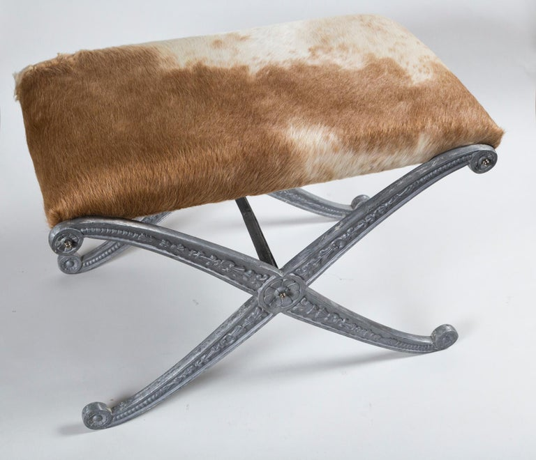 Pair of Neoclassical X-Frame Upholstered Benches, 20th Century In Good Condition For Sale In Chappaqua, NY