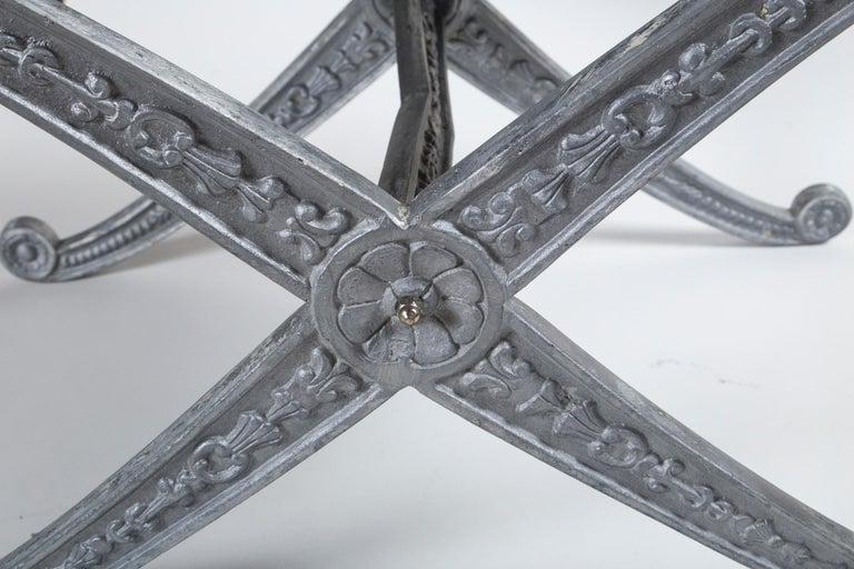 Metal Pair of Neoclassical X-Frame Upholstered Benches, 20th Century For Sale