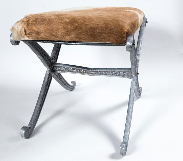 Pair of Neoclassical X-Frame Upholstered Benches, 20th Century For Sale 3