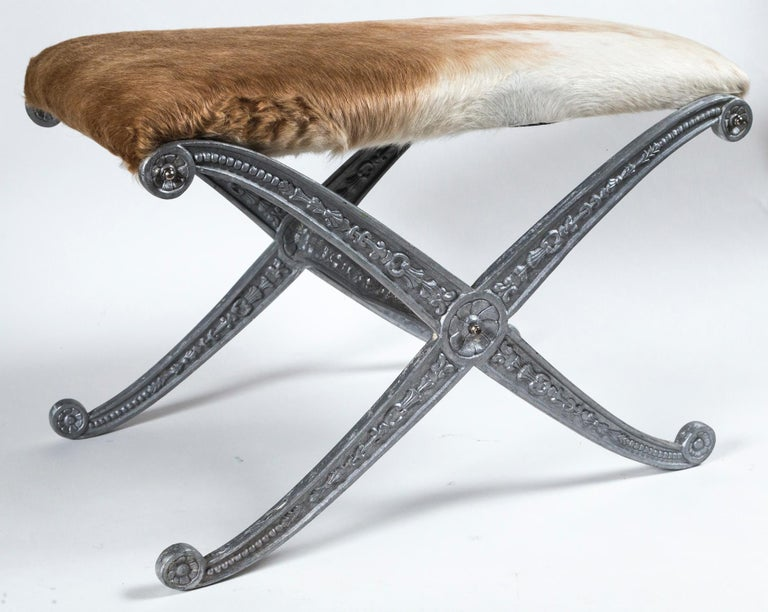 Pair of Neoclassical X-Frame Upholstered Benches, 20th Century For Sale 4