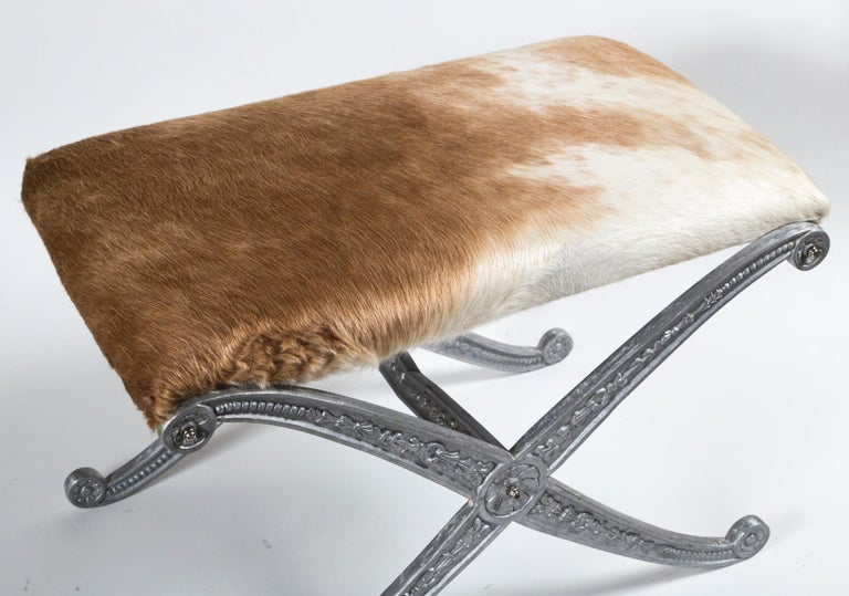 Pair of Neoclassical X-Frame Upholstered Benches, 20th Century For Sale 5