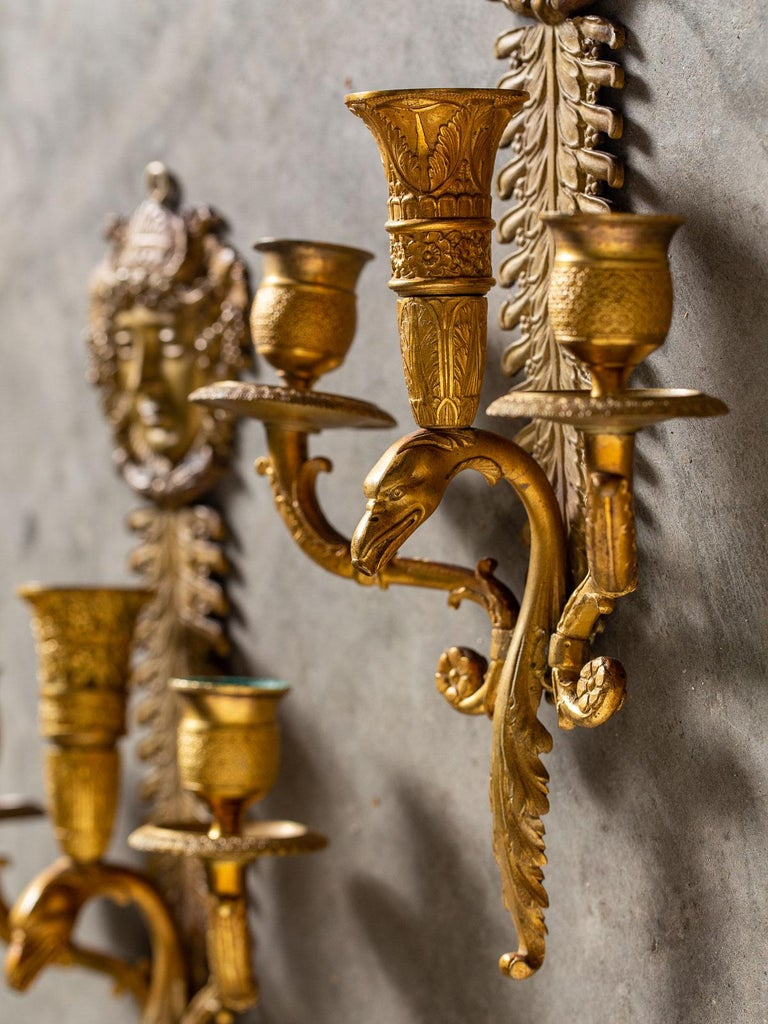 Pair of Neoclassical Antique French Empire Style Gilt Bronze Sconces, circa 1870 For Sale 6