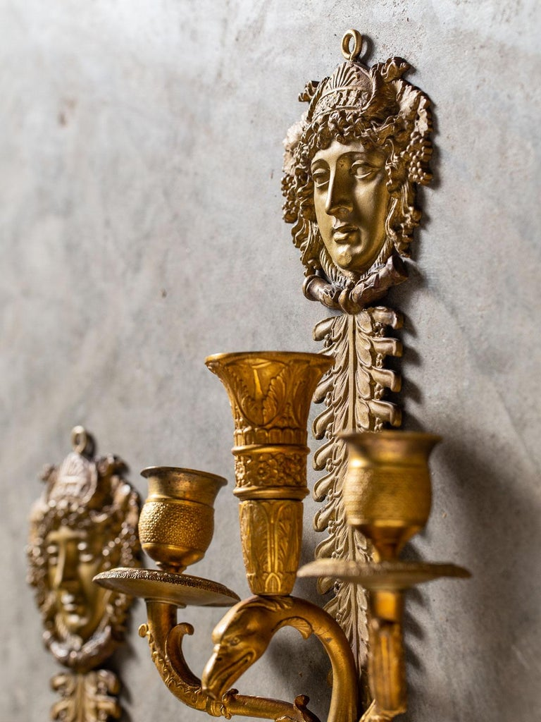 Pair of Neoclassical Antique French Empire Style Gilt Bronze Sconces, circa 1870 For Sale 7