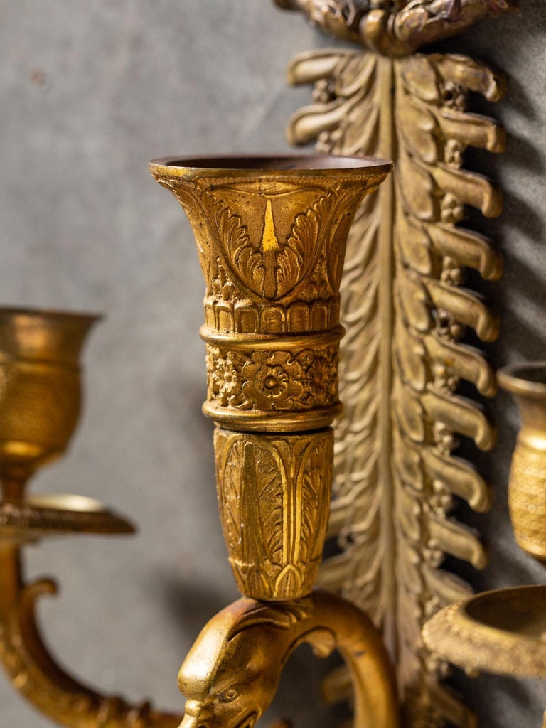 Pair of Neoclassical Antique French Empire Style Gilt Bronze Sconces, circa 1870 For Sale 10