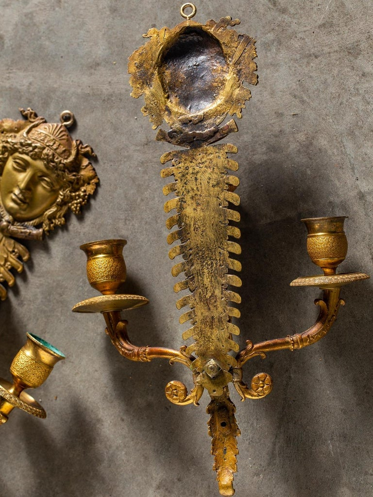 Pair of Neoclassical Antique French Empire Style Gilt Bronze Sconces, circa 1870 For Sale 12