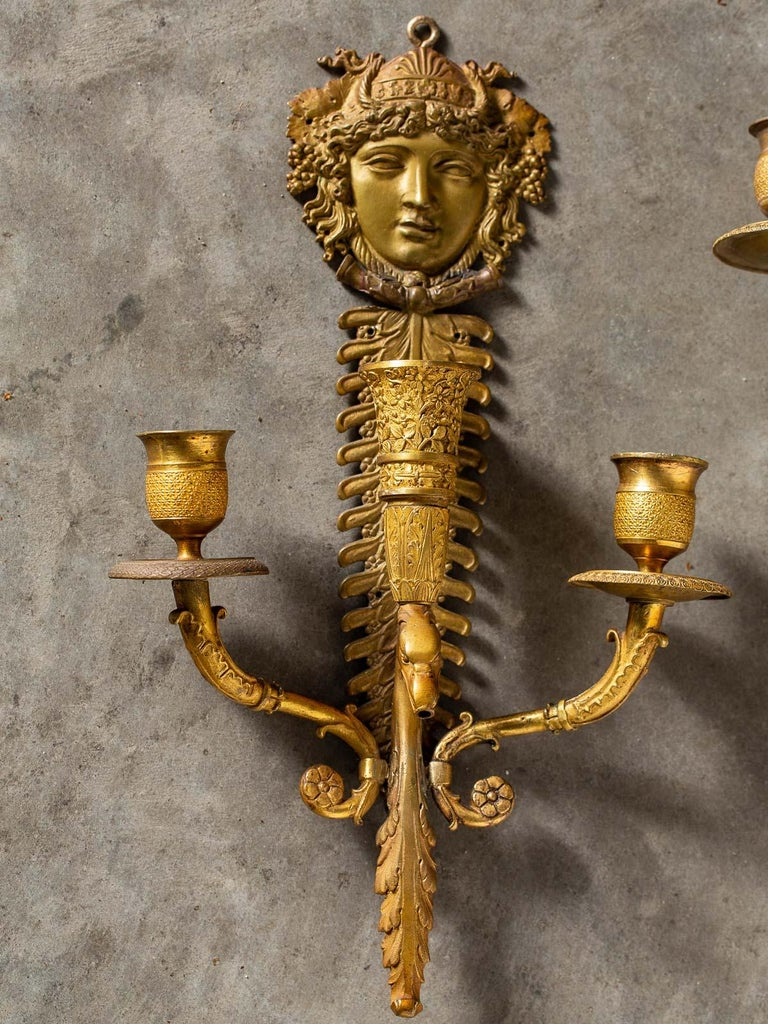 Pair of Neoclassical Antique French Empire Style Gilt Bronze Sconces, circa 1870 In Good Condition For Sale In Houston, TX