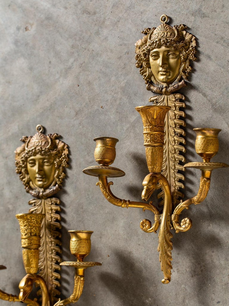 Pair of Neoclassical Antique French Empire Style Gilt Bronze Sconces, circa 1870 For Sale 4